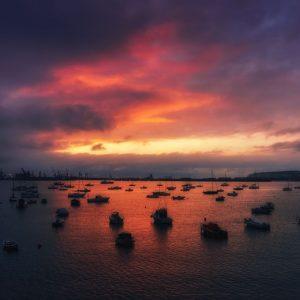 puesta de sol desde cubierta